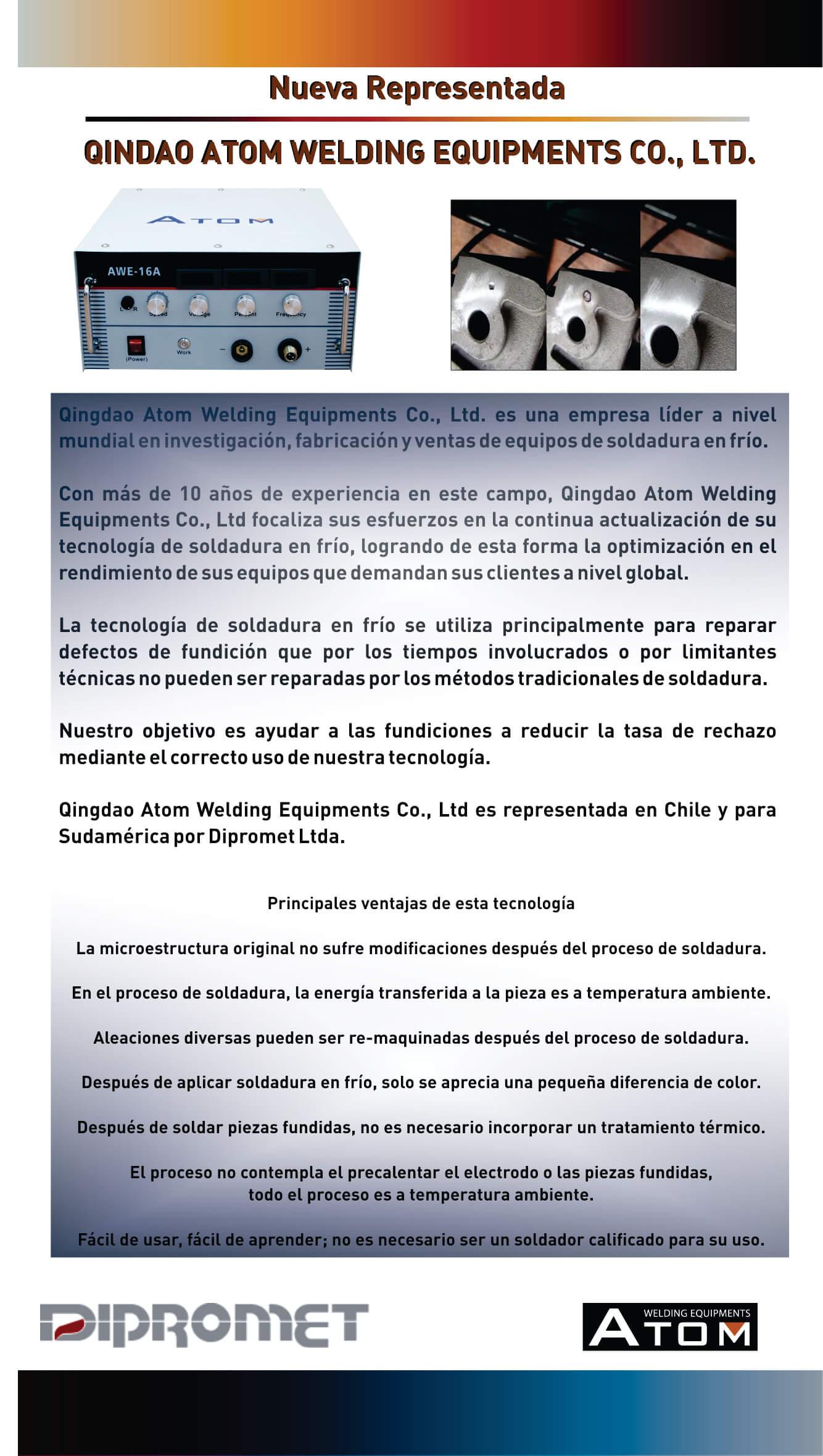 ESD Electro Spark Deposition, Soldadora en frío, soldadura, Dipromet, Atom, reparación piezas fundición, reparación moldes, acero inoxidable
